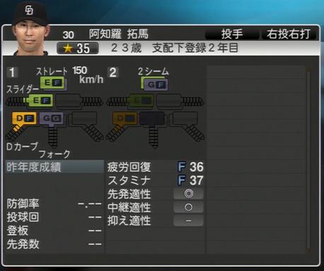 阿知羅琢磨 プロ野球スピリッツ2015 ver1.07