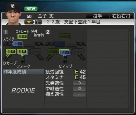 金子丈 プロ野球スピリッツ2015