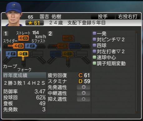 国吉佑樹 プロ野球スピリッツ2015