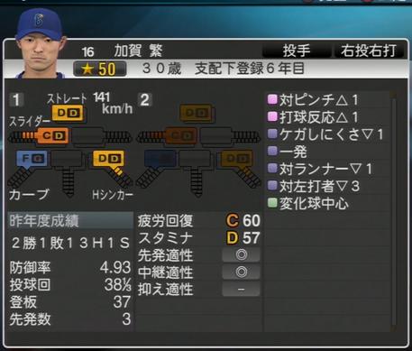 加賀繁 プロ野球スピリッツ2015