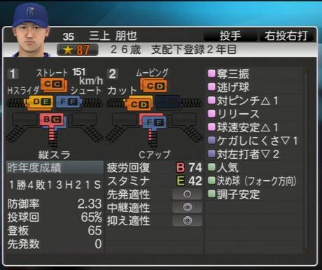 三上朋也 プロ野球スピリッツ2015