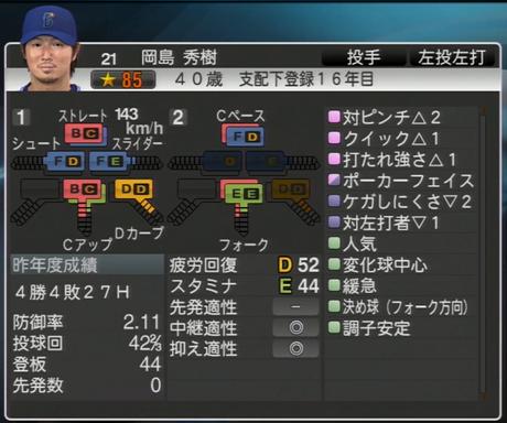 岡島秀樹 プロ野球スピリッツ2015