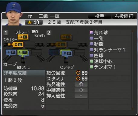 三嶋一輝 プロ野球スピリッツ2015