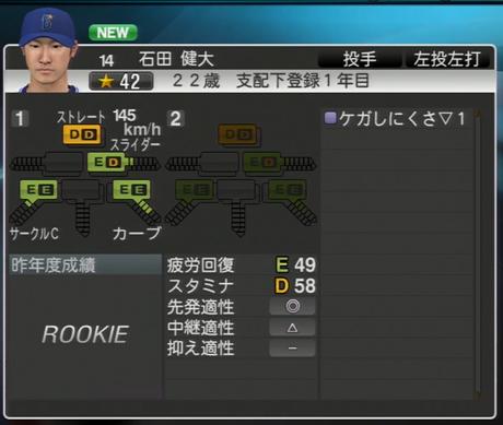石田健大 プロ野球スピリッツ2015
