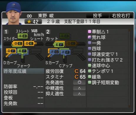 東野峻 プロ野球スピリッツ2015 ver1.07