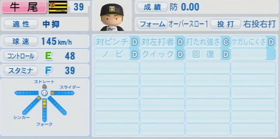 1位 牛尾秀朗 25歳 実況パワフルプロ野球2014