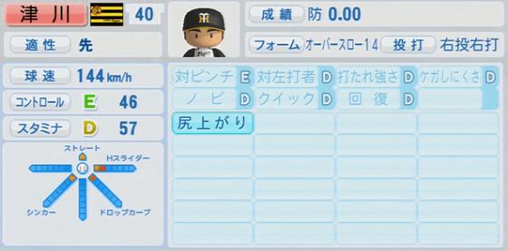 2位 津川啓司 18歳 実況パワフルプロ野球2014