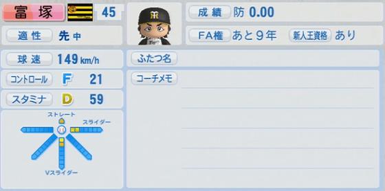 3位 冨塚信洋 18歳 実況パワフルプロ野球2014