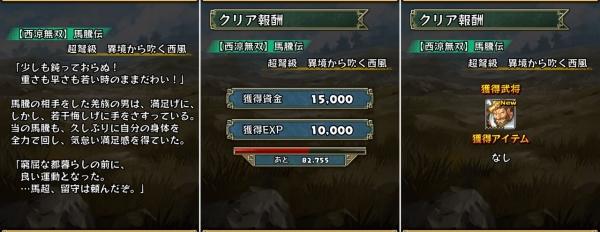 【西涼無双】馬騰伝 超弩級 クリア報酬