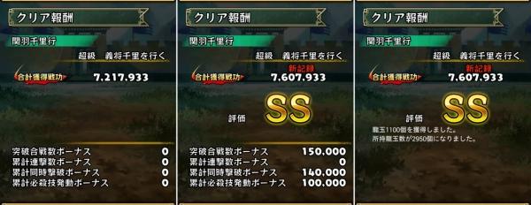 [チャレンジ勅命] 関羽千里行 超級 クリア報酬
