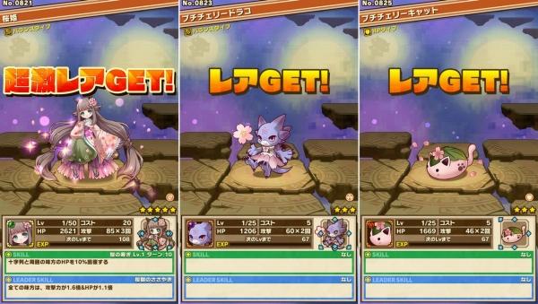 桜姫、プチチェリードラゴン、プチチェリーキャット