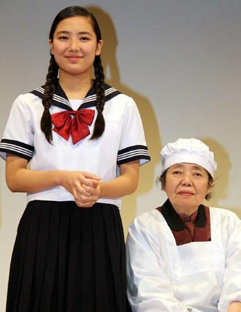 本木雅弘の長女・内田伽羅(15)、祖母・樹木希林との初共演は「少し恥ずかしかった」…映画「あん」完成披露試写会
