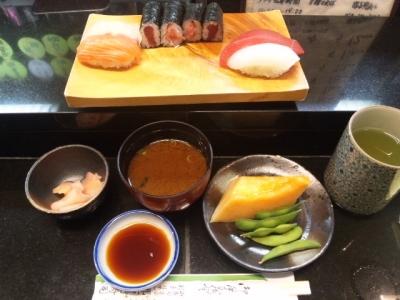 150303那古野寿司ワンコインランチ500円メロン&枝豆