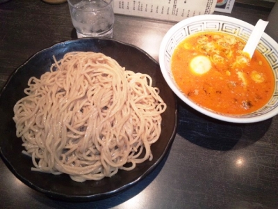 150310らーめん山頭火大阪西新地店辛みそつけ麺980円そば麺大盛り無料