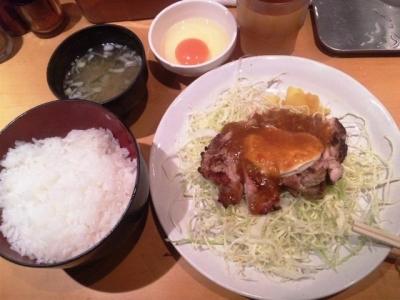 150310一夢庵焼鶏定食620円カレーソース