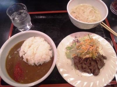 150312ステーキハウス鎌田Aランチ800円カレー、牛タン、フォー