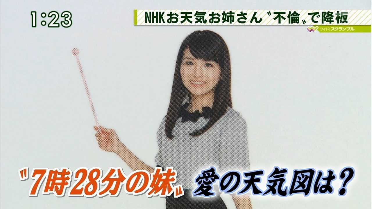 NHKの気象予報士・岡村真美子のダブル不倫を報じるニュース番組