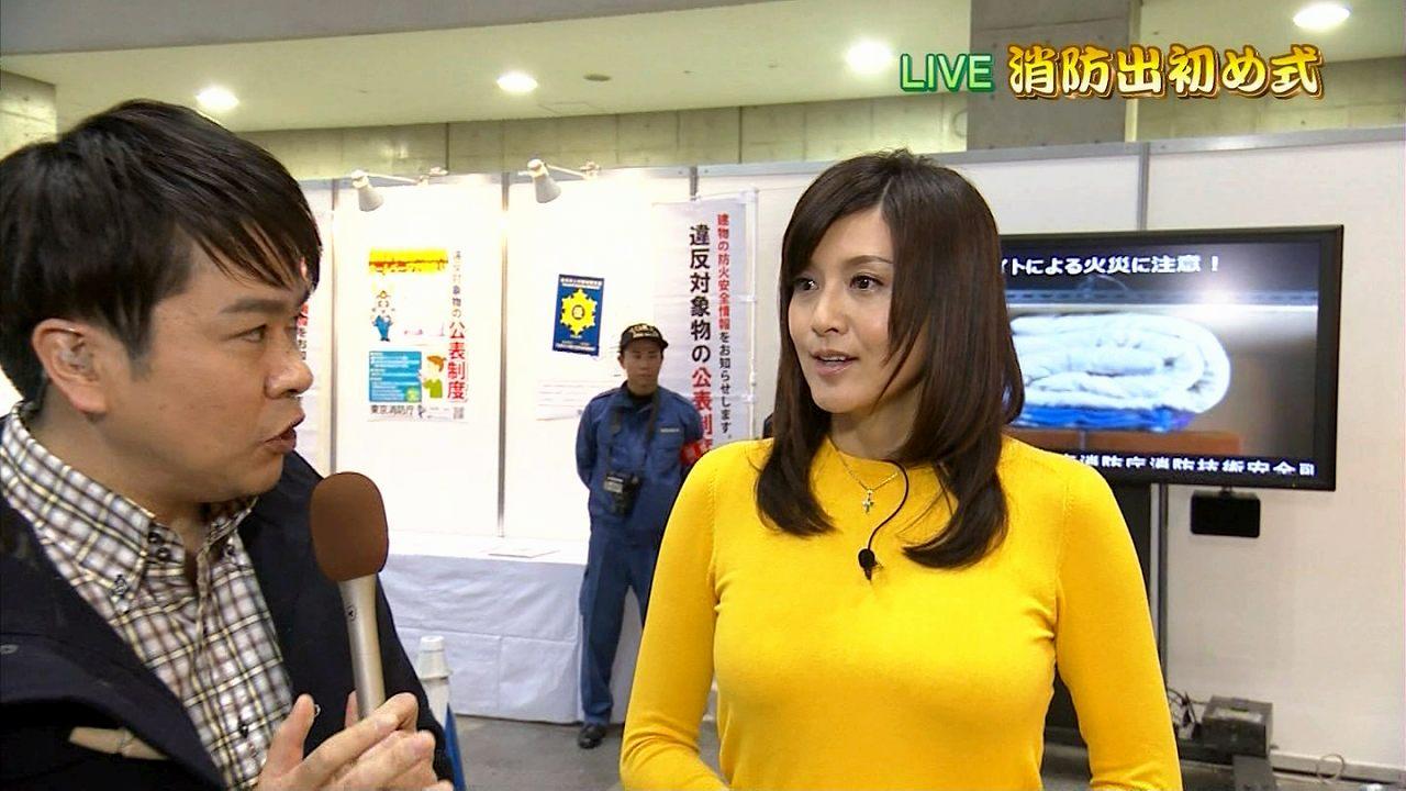 NHKで消防出初式をレポートする藤原紀香の胸