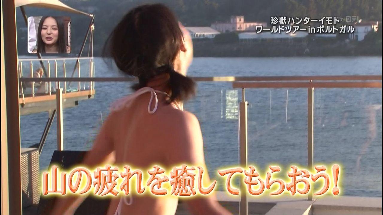 「世界の果てまでイッテQ」で白いビキニの水着を着たイモトアヤコ