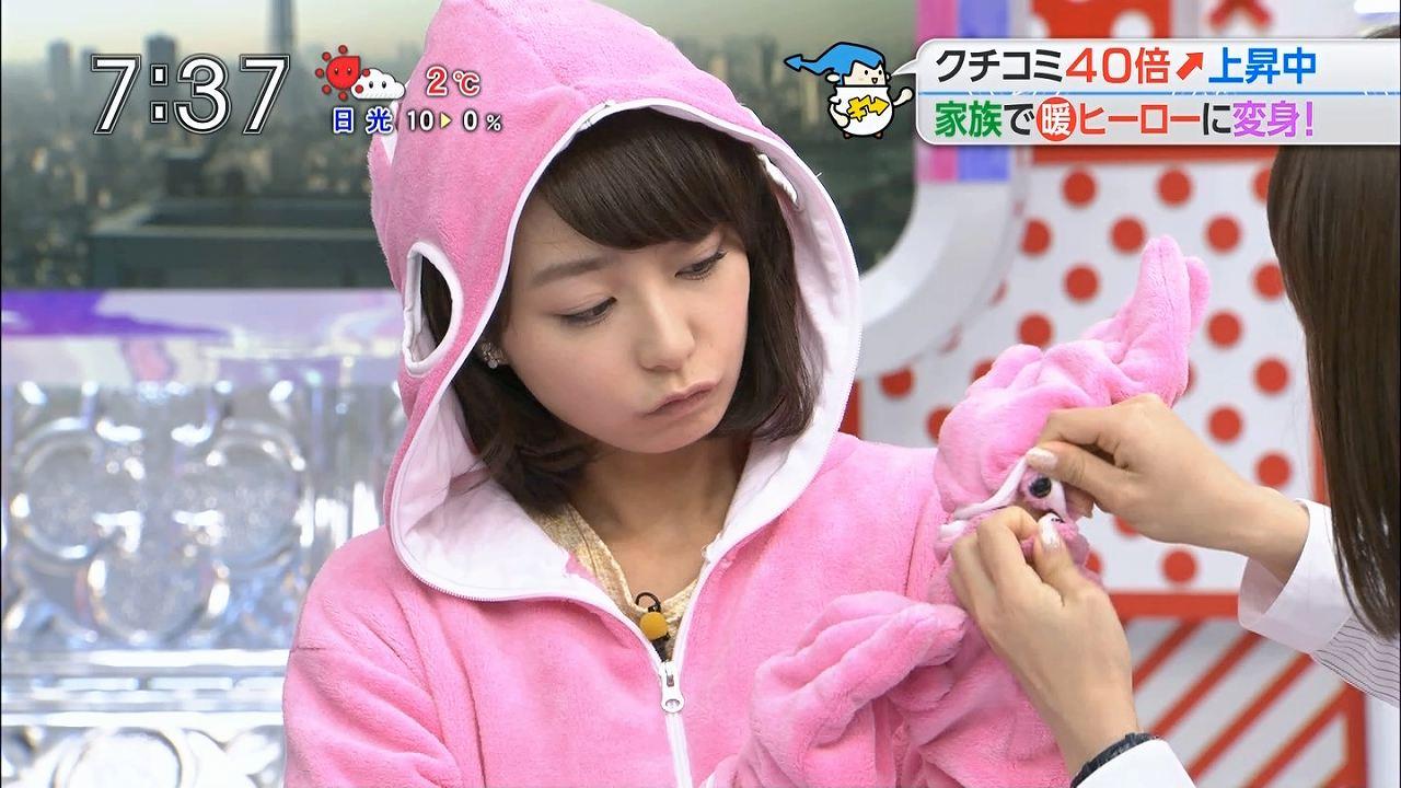 TBS「あさチャン」で着ぐるみを着る宇垣美里アナ