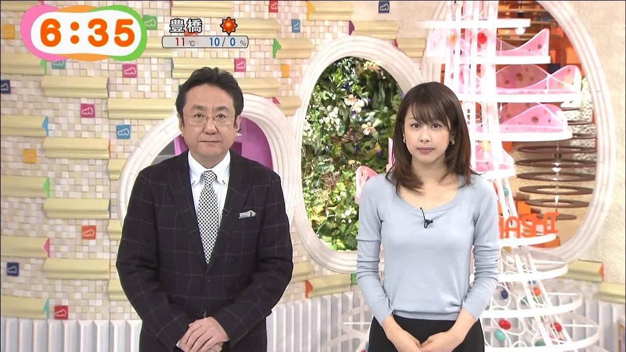 「めざましテレビ」に下着が透ける服で出演した加藤綾子アナ
