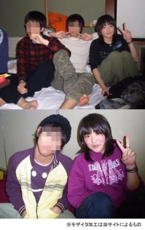 眞子さまと同級生男子のピース写真