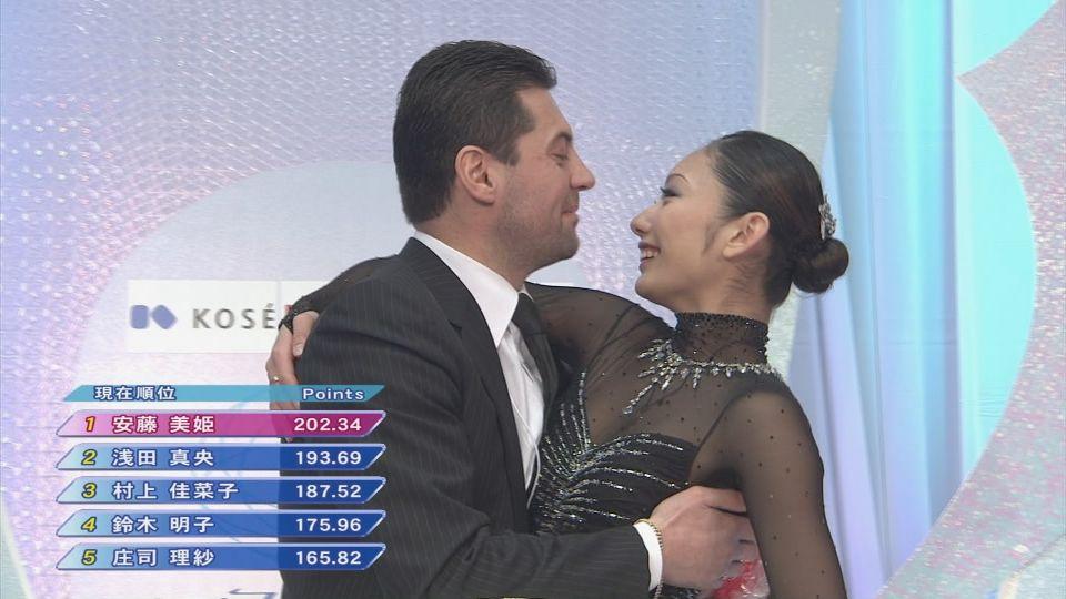 抱き合うニコライ・モロゾフと安藤美姫