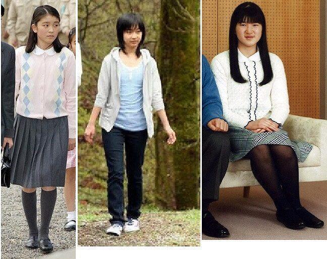 13歳の眞子さまと13歳の佳子さまと13歳の愛子さまの比較画像