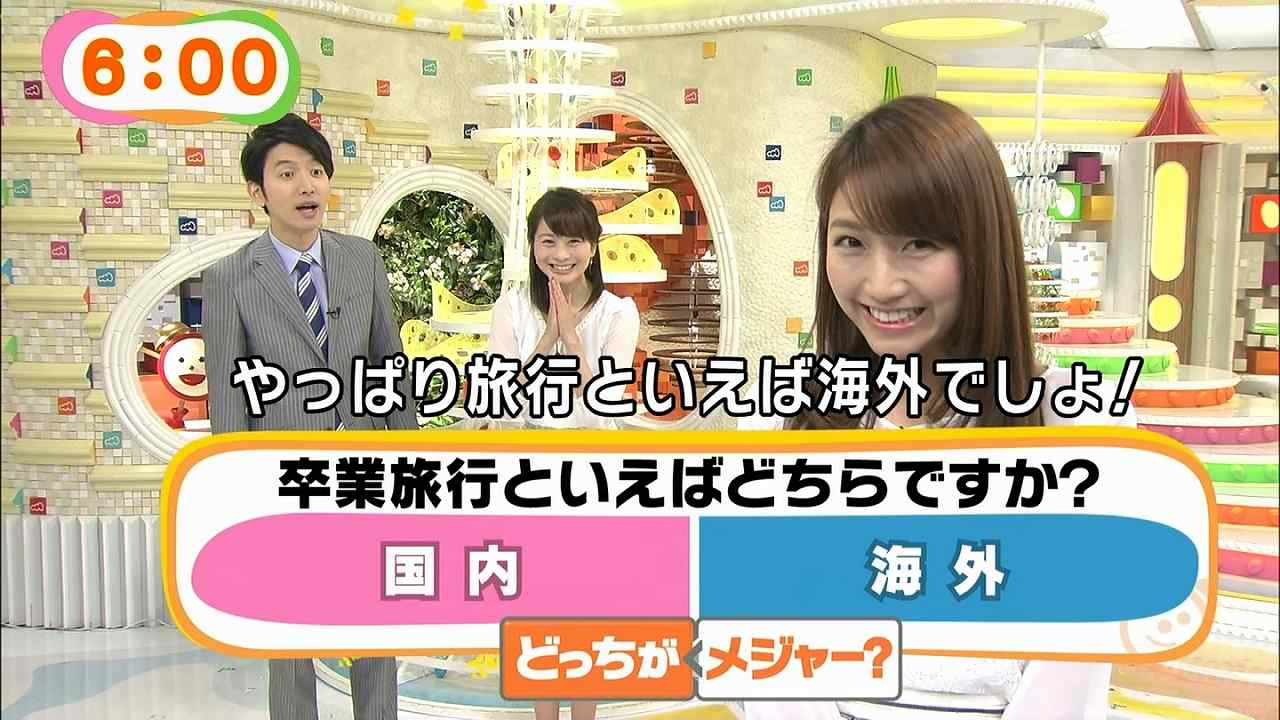 めざましどようびで卒業旅行についてアンケートを取る生田竜聖アナと三田友梨佳アナ