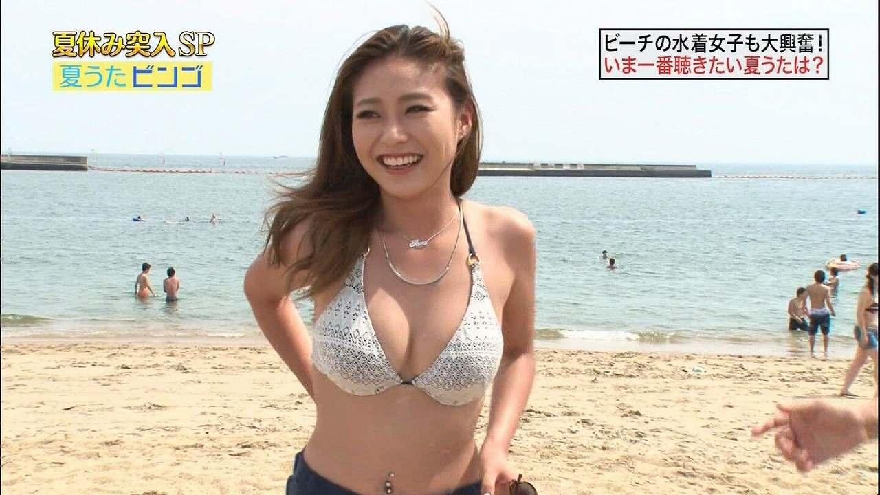 「夏休み突入SP 夏歌ビンゴ」に出演したビキニ姿の人妻