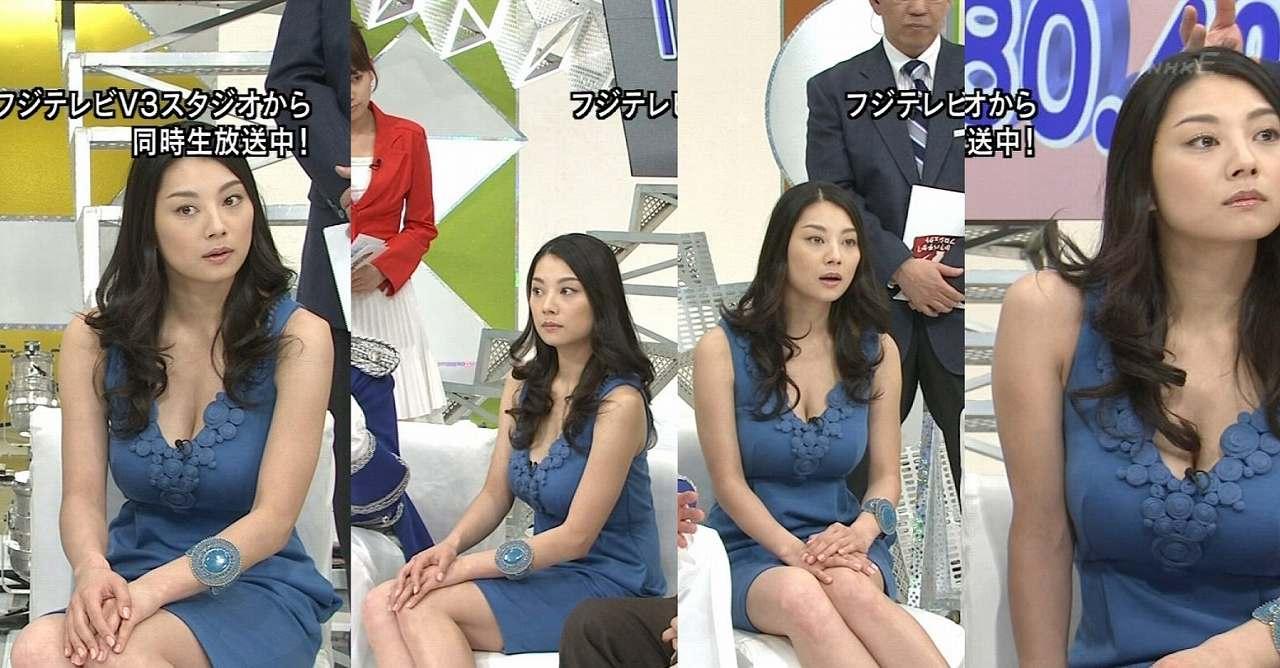 胸元ガバガバの服でテレビ出演した小池栄子