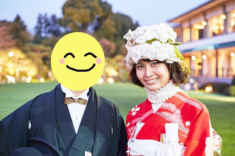 結婚式で着物姿の加藤夏希と加藤夏希の旦那