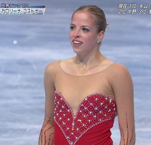 カロリーナ・コストナーがスケート中にポロリした乳首