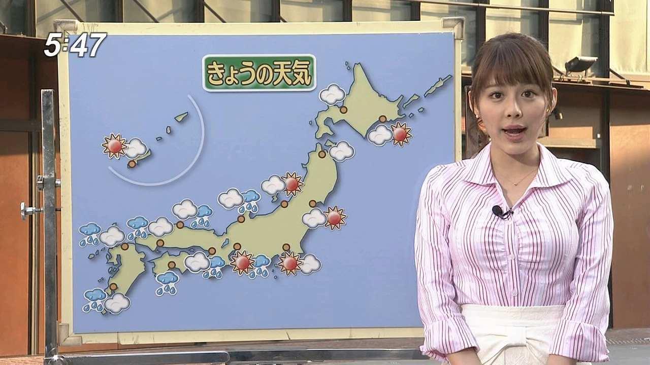 ボーダーのシャツを着て強調された巨乳のお天気お姉さん