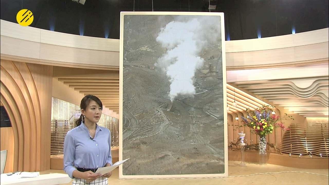 2015年5月6日、「あしたのニュース」の大島由香里アナ、シャツがはち切れそう