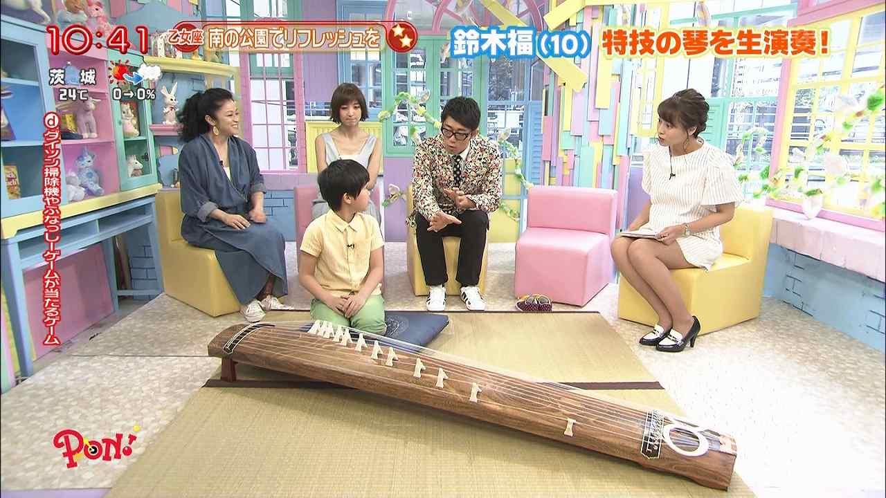 日テレ「PON!」、短すぎるスカートの衣装でソファに座った上田まりえアナの太もも