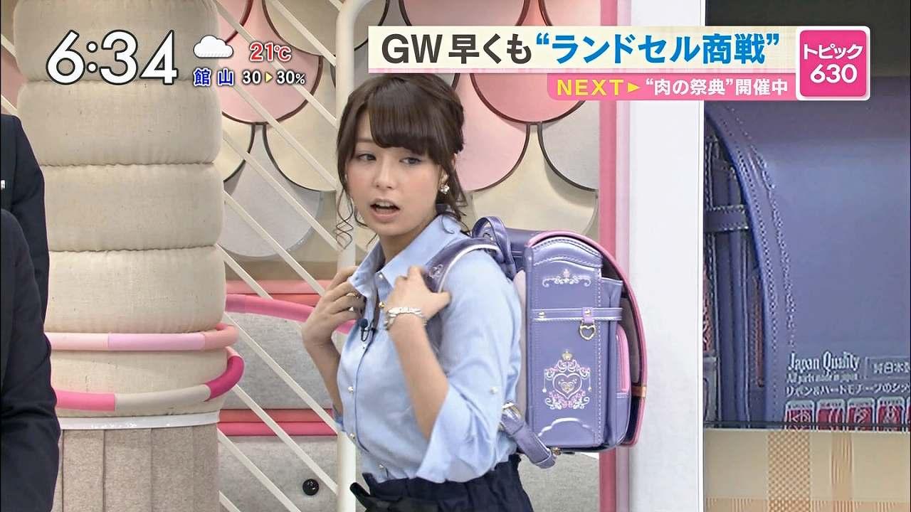 TBS「あさチャン」でランドセルを背負う宇垣美里アナ