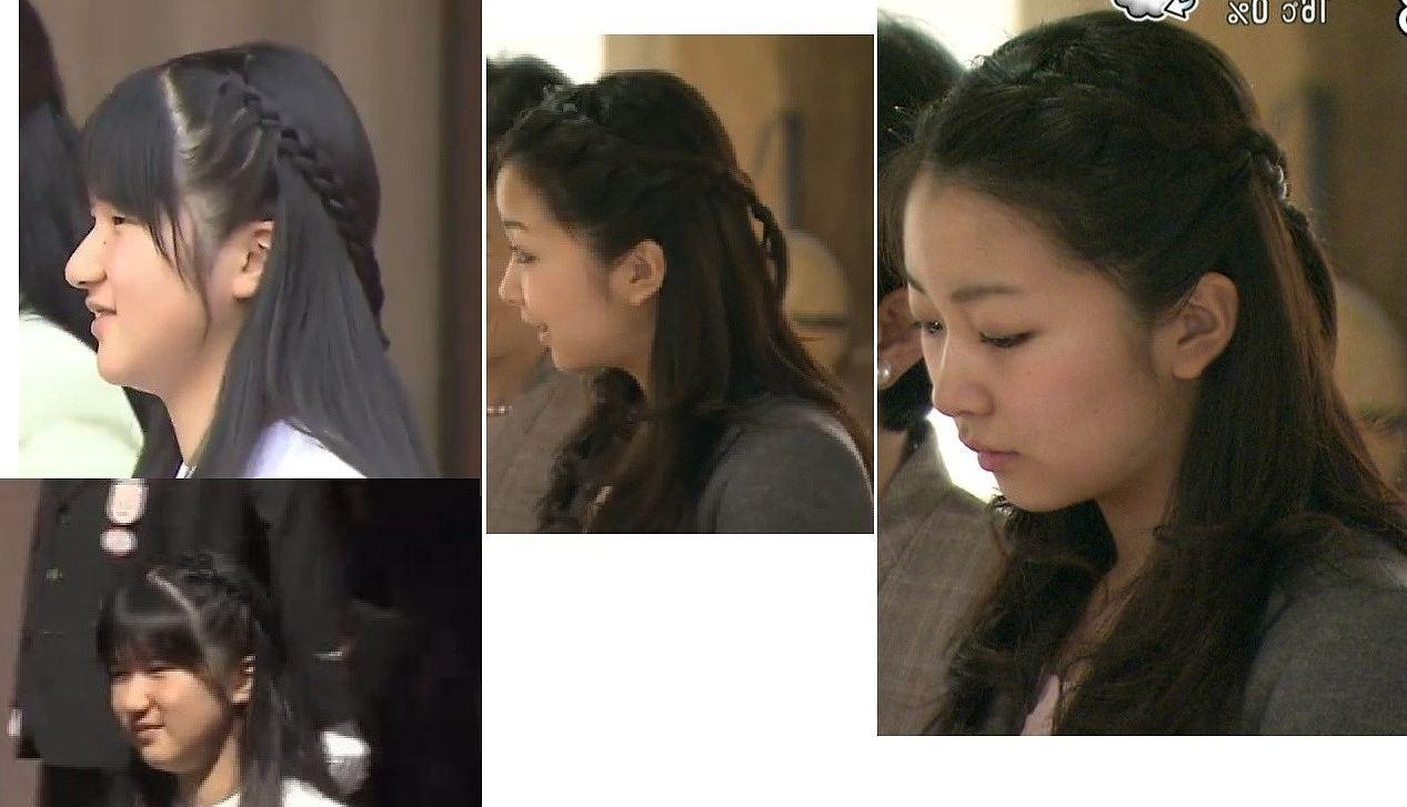 同じ髪型にした愛子さまと佳子さまの比較画像