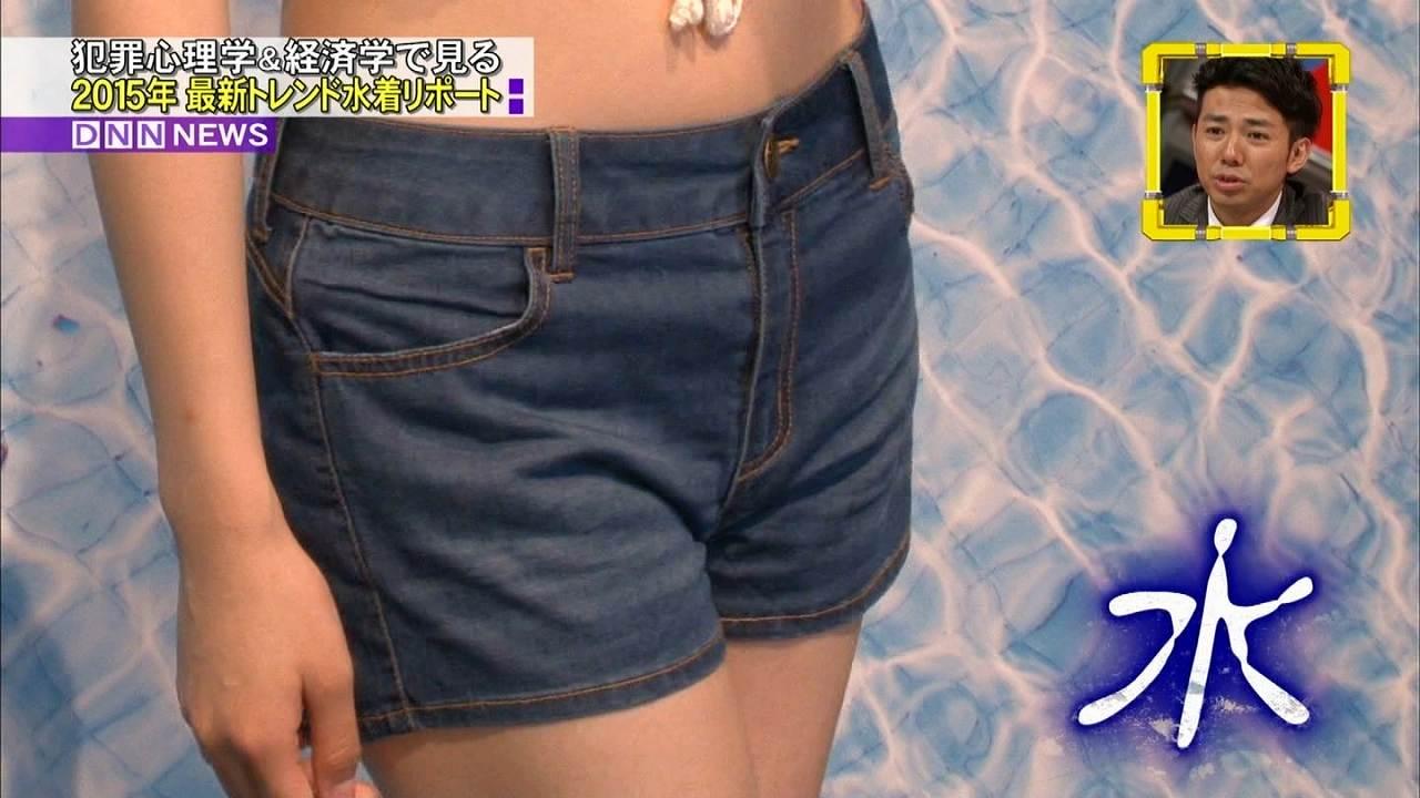 フジテレビ「全力!脱力タイムズ」で2015年最新トレンド水着を着た朝比奈彩