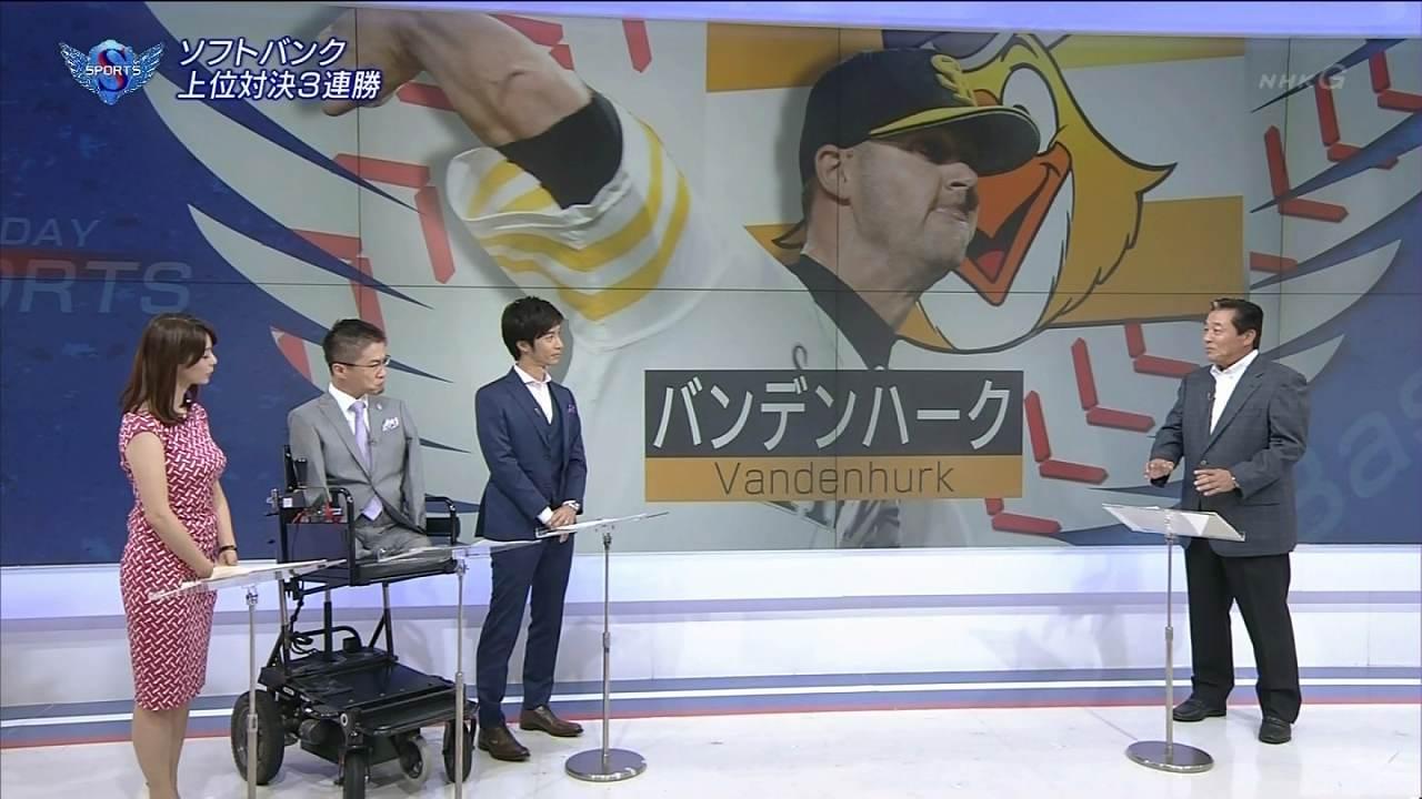 NHK「サンデースポーツ」にぴっちりしたノースリーブワンピースで出演した杉浦友紀アナのロケットおっぱい