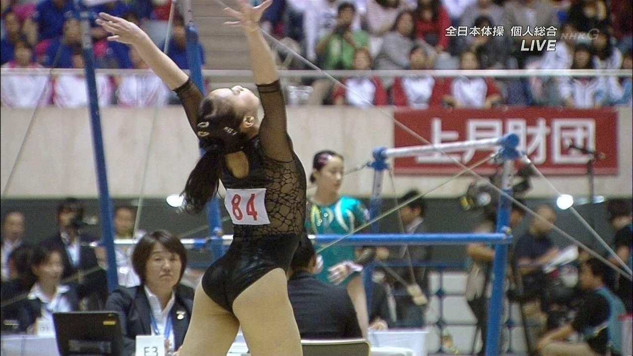 全日本体操に黒のハイレグレオタードで出場した湯元さくら