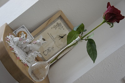 フラスコに薔薇