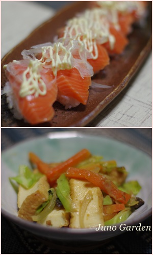 サーモンサラダ寿司&厚揚げとキャベツの味噌炒め