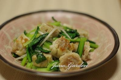 しゅうまいと小松菜のオイスターソース炒め