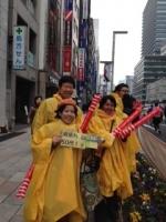 東京マラソン京橋応援中