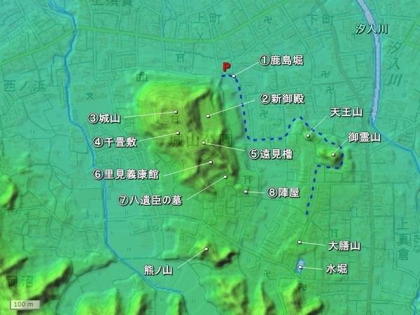 館山城地形図