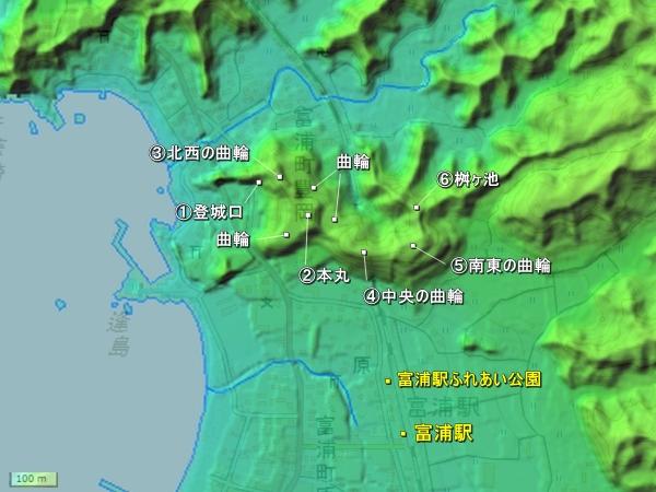 岡本城地形図