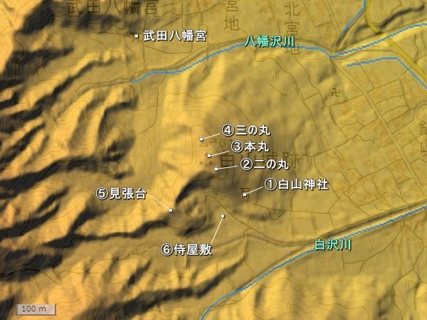 白山城地形図