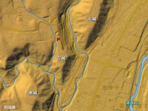 若神子城地形図