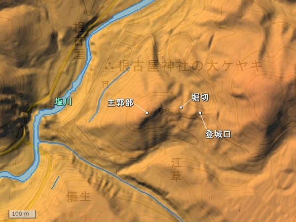 獅子吼城地形図